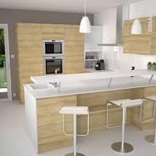 plan snack cuisine cuisine nordique blanche et bois épurée modèle design sans poignée