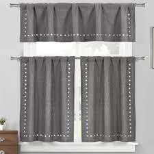 3 Piece Curtain Rod Geometric Valances U0026 Kitchen Curtains You U0027ll Love Wayfair