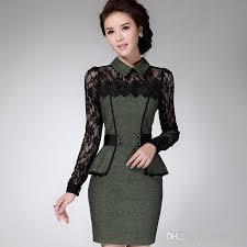 2014 fall elegant women professional long sleeve work dress