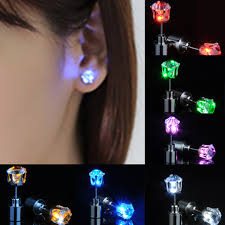 light up earring studs 1pair charm led earring light up crown glowing stainless