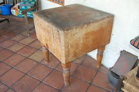 wood butcher block table extremely heavy antique wood welded solid wood butcher block table