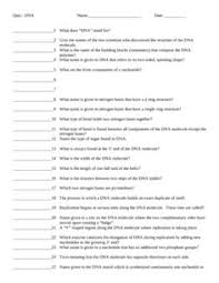 Dna Structure And Replication Worksheet Key Dna And Replication Crossword Puzzle Transcription Dna And Homework