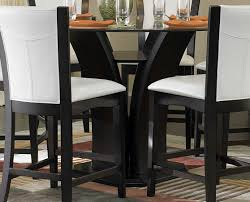 dining room table black homelegance daisy round counter height table glass top 710 36rd