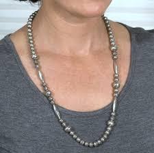 sterling silver beaded necklace images Vintage sterling silver navajo pearls jpg