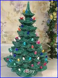 green ceramic christmas tree with dove lights and base 17