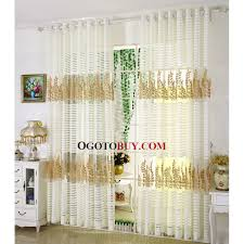 embroidered gold leaf pattern white stripe sheer curtain loading zoom