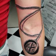 3d Compass Tattoos 3d Chain Compass Image On Lower Sleeve