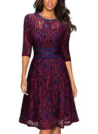 miusol women u0027s vintage floral lace 2 3 sleeve cocktail evening