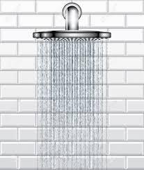 bathroom rain shower on white brick tiles background royalty free