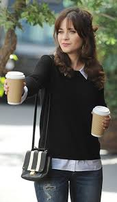 black sweater with white collar zooey deschanel s black sweater with white shirt collar and