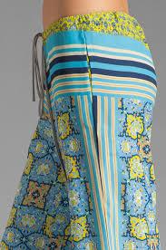 clover canyon art deco tiles wide leg pants in blue lyst