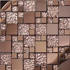 kitchen backsplash metal gold stainless steel metal mosaic glass tile kitchen