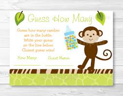 monkey invitations baby shower jungle monkey guess how many baby shower game instant download