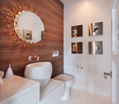bathroom mirror ideas powder room contemporary with stacked wood