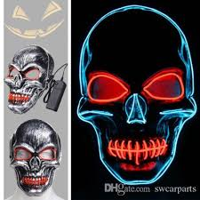 led skull face mask light up flashing luminous for halloween