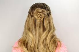 flower hair bun braid and flower bun