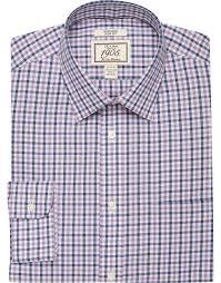1905 collection slim fit spread collar plaid dress shirt 1905