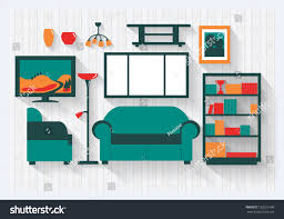 lounge sitting room house bookcase furniture stock vector