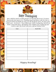 reading recovery thanksgiving reading log reading recovery