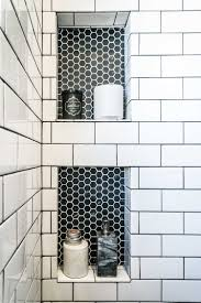 loving this subway tile and black hex tile inset hey homie
