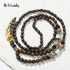 beads necklace india images Online shop artilady wooden buddha beads necklace horn shape jpg