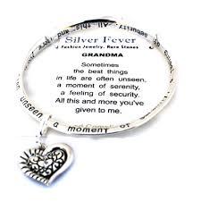 mothers day bracelet grandmother s heart charm silver bangle poem bracelet