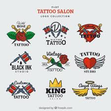 flat logo collection for a tattoo salon vector free download