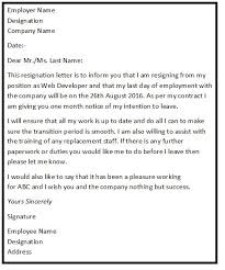 what should a letter of resignation say resume cv cover