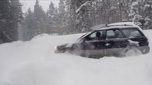 subaru winter subaru plowing through deep snow winter driving alaska stock video