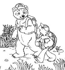 Franklin The Turtle And Bear Walking On Adventure Coloring Pages Franklin Coloring Pages
