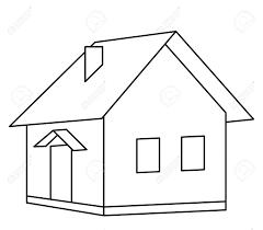 D Haus Haus Land Dörfchen Monochrom Konturen Isoliert Lizenzfrei