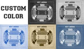 arena floor plans vintage print of key arena seating chart free shipping seattle