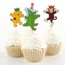24pcs circus theme party supplies cupcake toppers pick boy kid