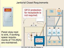 gfci distance from sink janitorial closet requirements electrical construction