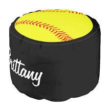 custom softball round pouf beanbag chair zazzle com