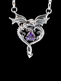 necklace dragon images Dragon necklace silver dragon heart pendant with amethyst double jpg