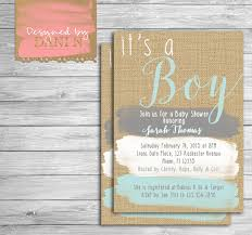 baby shower invite rustic burlap invitation paint strokes
