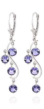 tanzanite earrings tanzanite catcher drop earrings 4 0ctw in 9ct white gold