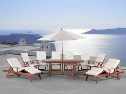 Garden Table With Umbrella Wooden Garden Furniture Set With Cushions In Beige And Umbrella