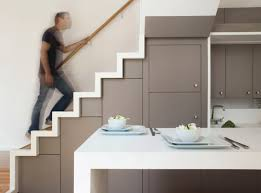 Kitchen Stairs Design Kitchen Built In The Space Of The Stairs 01 Furnime Space Saver