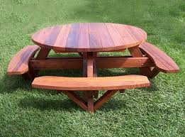 Plans For Picnic Table With Attached Benches by Picnic Table Plans Picnic Table Plans Picnic Round Wood
