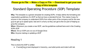 standard operating procedure sop template google docs