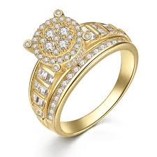 bridal gold ring gold plated sterling silver cubic zirconia cut women s