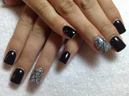 gel nails black nails glitter nails konad stamping nail art
