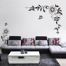 home decor wall art stickers black butterfly diagonal flowers rattan wall art mural decor