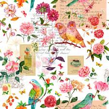 vintage collage seamless background pattern with birds flowers
