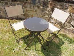 beige and brown 3 piece garden furniture metal patio bistro set