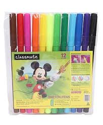 classmate products buy online classmate disney mickey mouse sketch pens 12 shades multi color