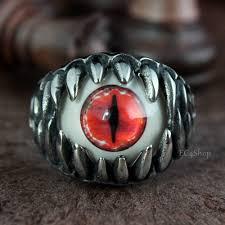 gothic ruby rings images Men 39 s punk gothic biker dragon teeth crimson ruby red cat cat 39 s jpg