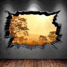3d Hole Murals 3d Cake Image Wall Decal Cracked Hole Safari Home 3d Full Colour Wall Art